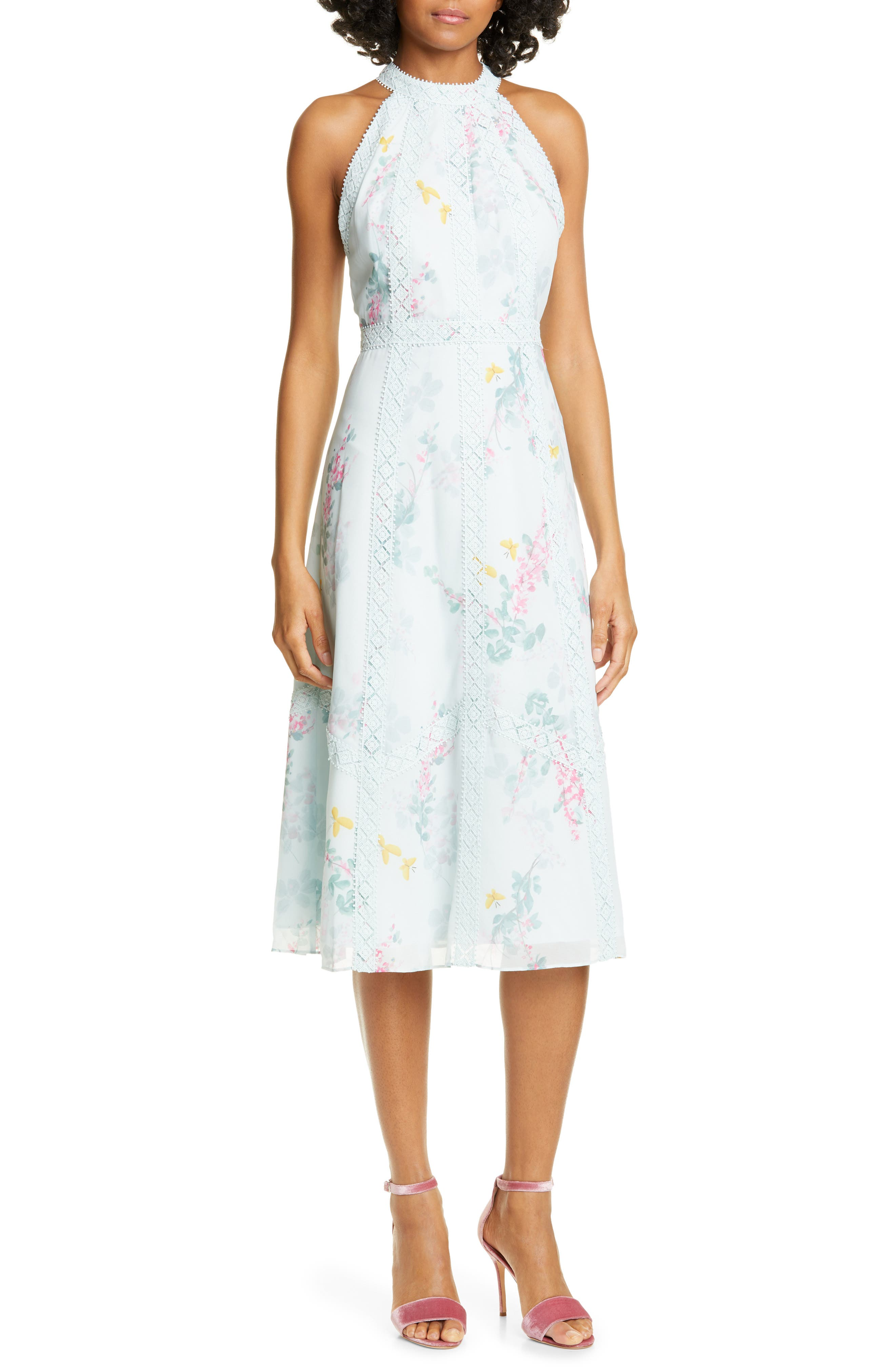 Ted Baker London Pinkee Sorbet Lace Trim Halter Midi Dress, Green