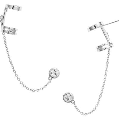 Sterling Forever Chained Stud Ear Cuff
