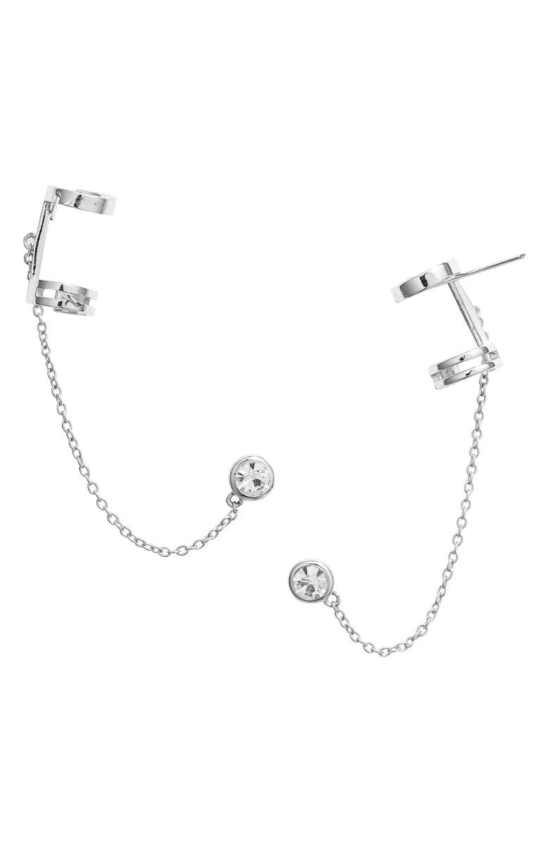 STERLING FOREVER Chained Stud Ear Cuff, Main, color, SILVER