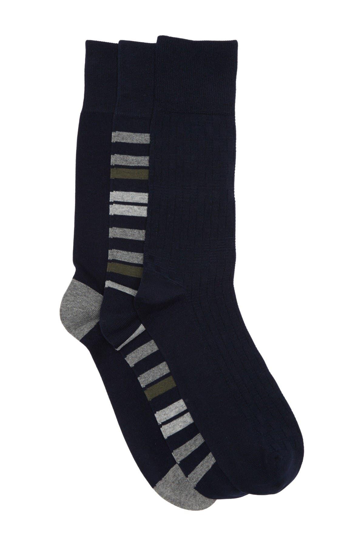Image of Nordstrom Rack Texture Stripe Crew Socks - Pack of 3