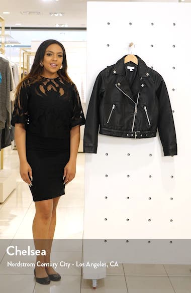 Kota Crop Faux Leather Moto Jacket, sales video thumbnail