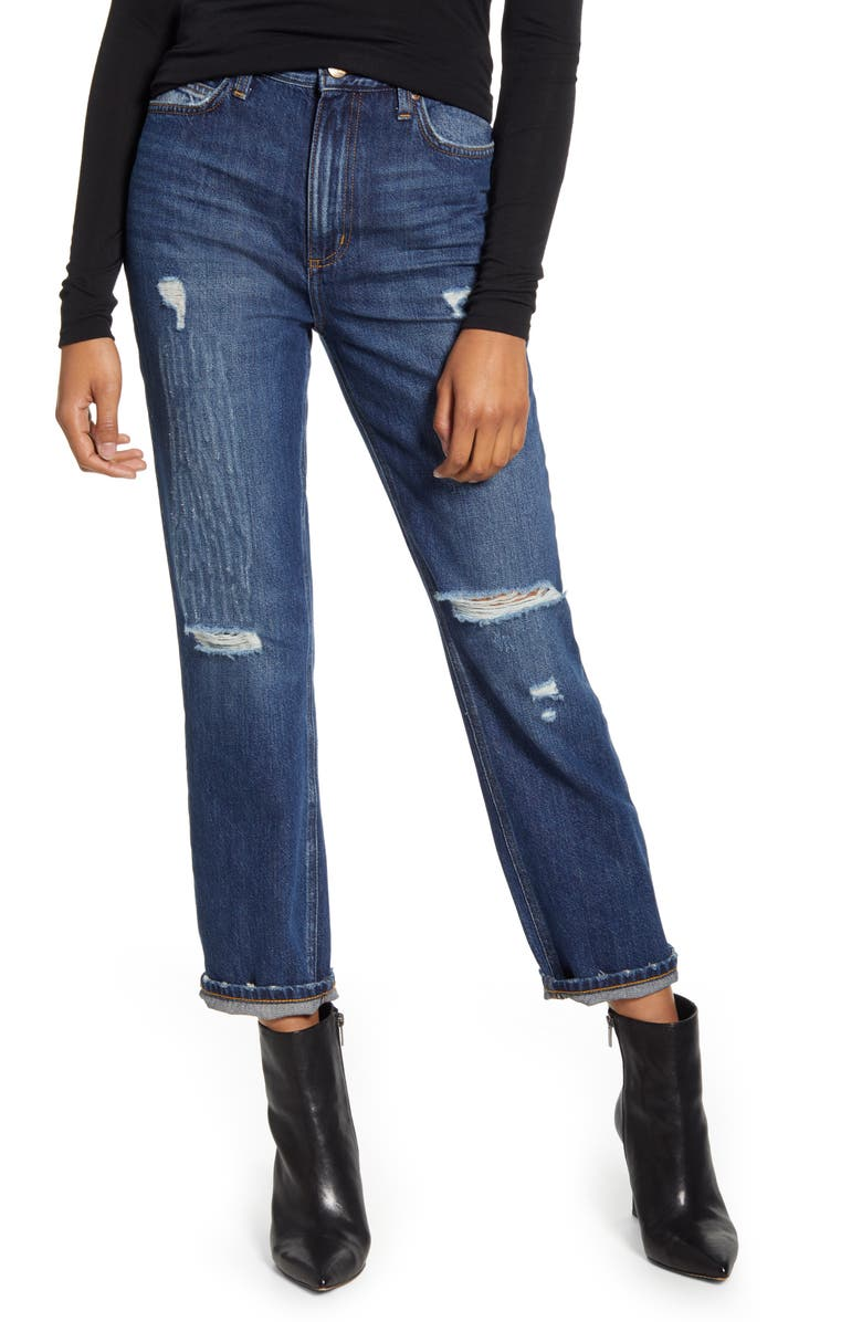 LEE High Waist Ripped Straight Leg Ankle Jeans, Main, color, KC BLUES