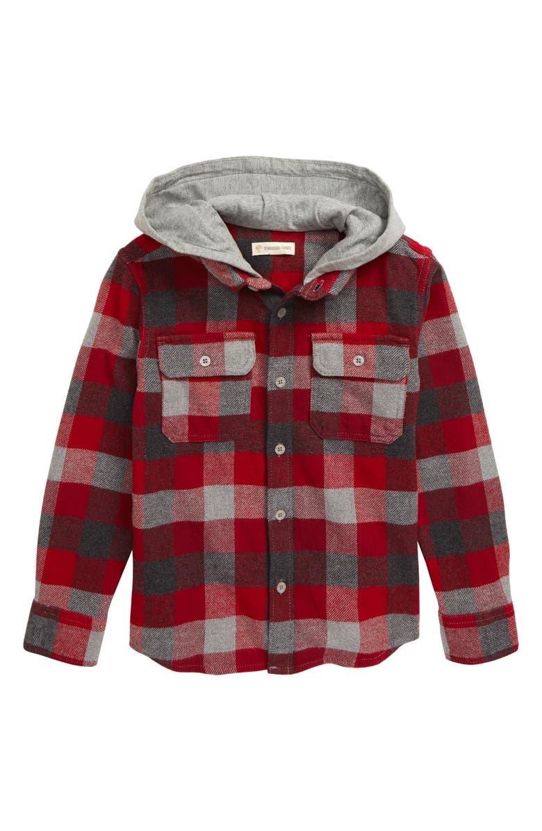 TUCKER + TATE Check Hooded Flannel Shirt, Main, color, RED TIBETAN- GREY PLAID