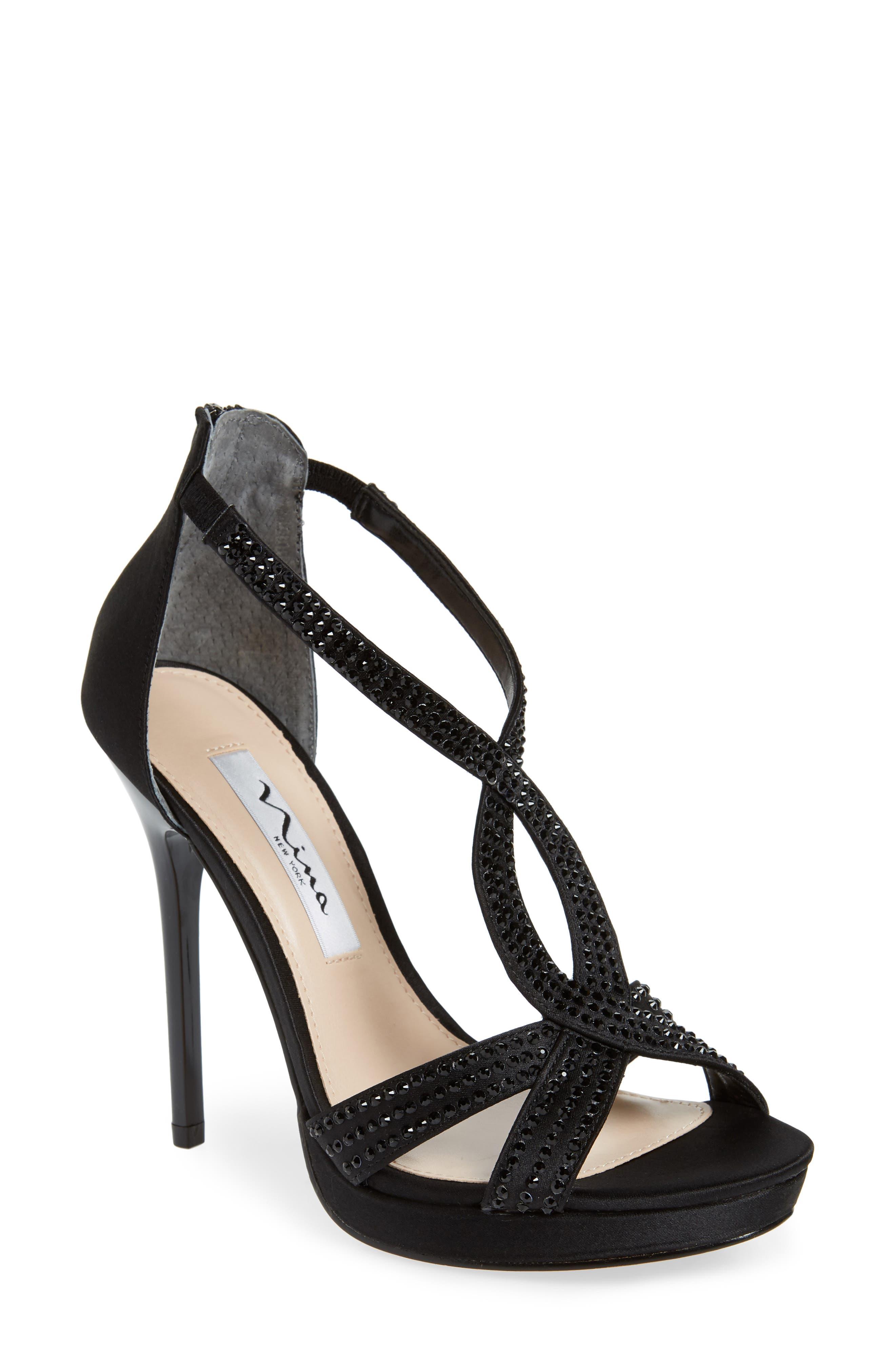 Fianna Strappy Sandal, Main, color, BLACK SATIN