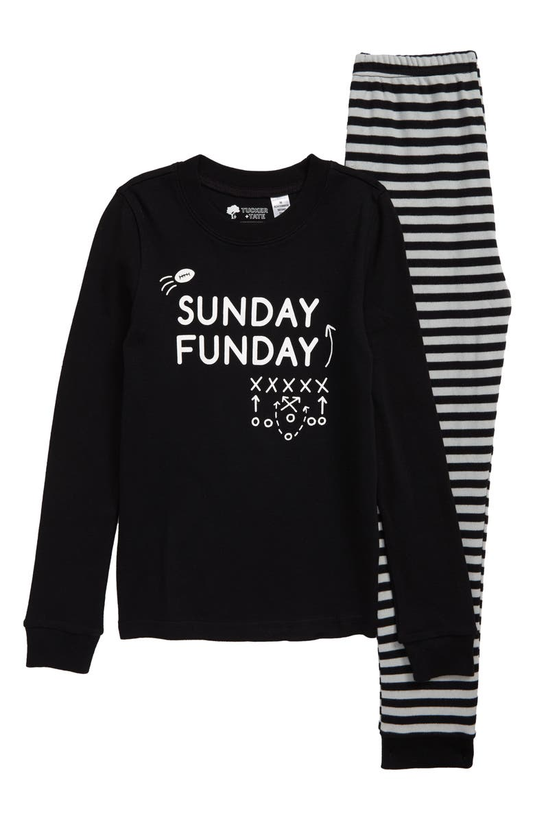 TUCKER + TATE Fitted Two-Piece Pajamas, Main, color, BLACK- WHITE SUNDAY FUNDAY