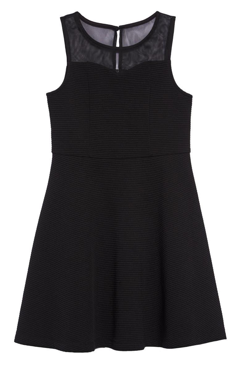 ZUNIE Illusion Sweetheart Skater Dress, Main, color, BLACK
