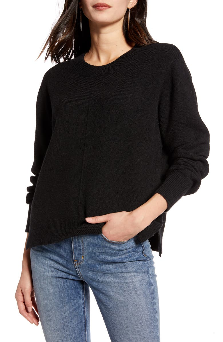 TREASURE & BOND Crewneck Pullover, Main, color, BLACK