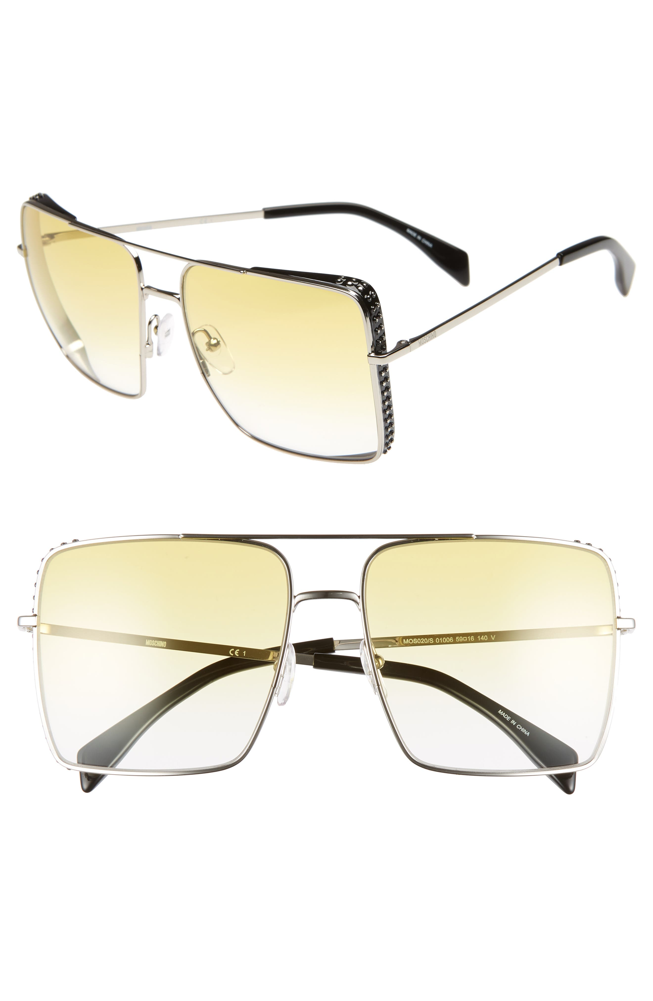 50mm Square Flat Top Sunglasses, Main, color, PALLADIUM
