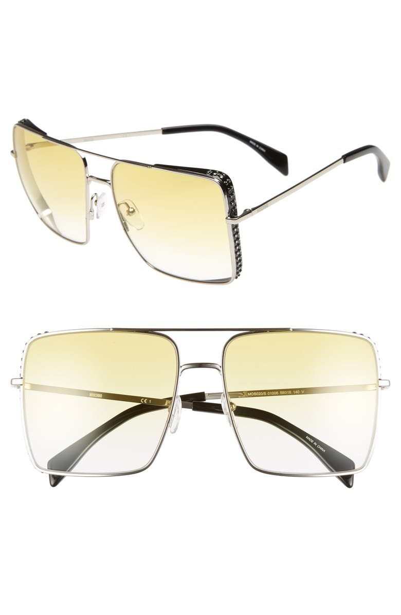 MOSCHINO 50mm Square Flat Top Sunglasses, Main, color, PALLADIUM
