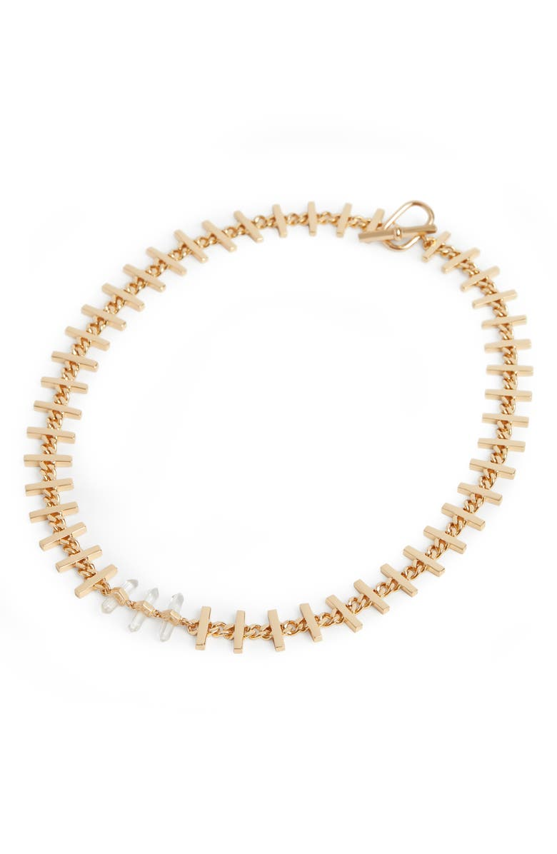 ALLSAINTS Stone Bar Collar Necklace, Main, color, CRYSTAL/ GOLD