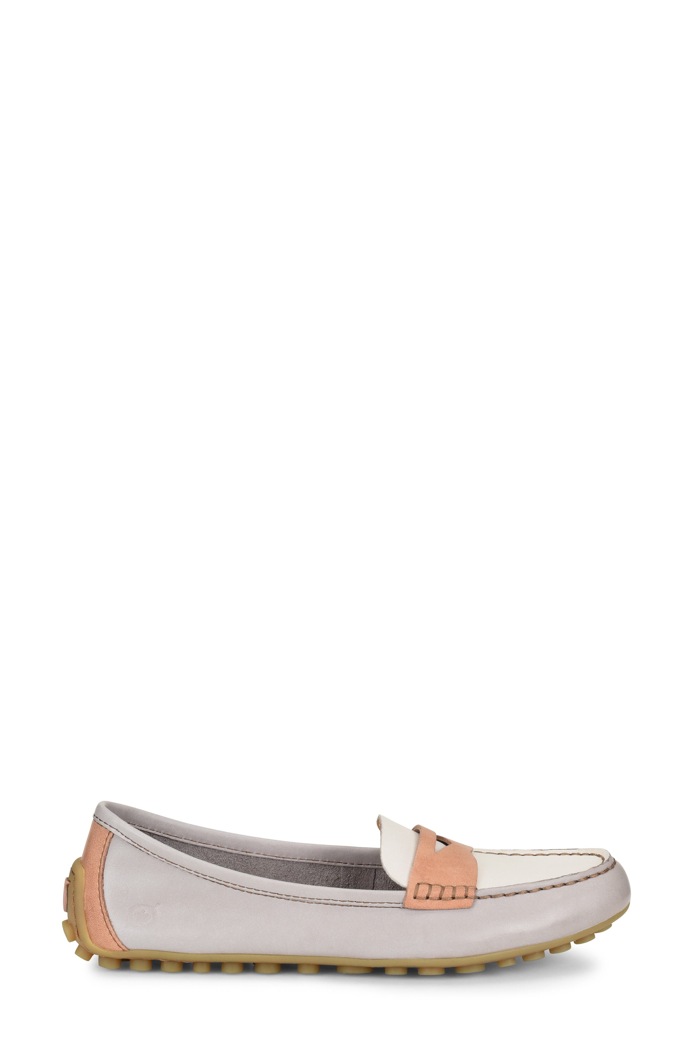 ,                             Malena Penny Loafer,                             Alternate thumbnail 3, color,                             LIT GREY/ WHITE/ BLUSH LEATHER