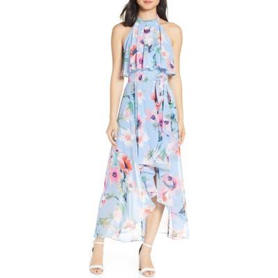 Petite Eliza J Halter High/low Midi Dress, Blue