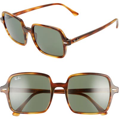 Ray-Ban 5m Square Sunglasses - Striped Havana/ Green Solid