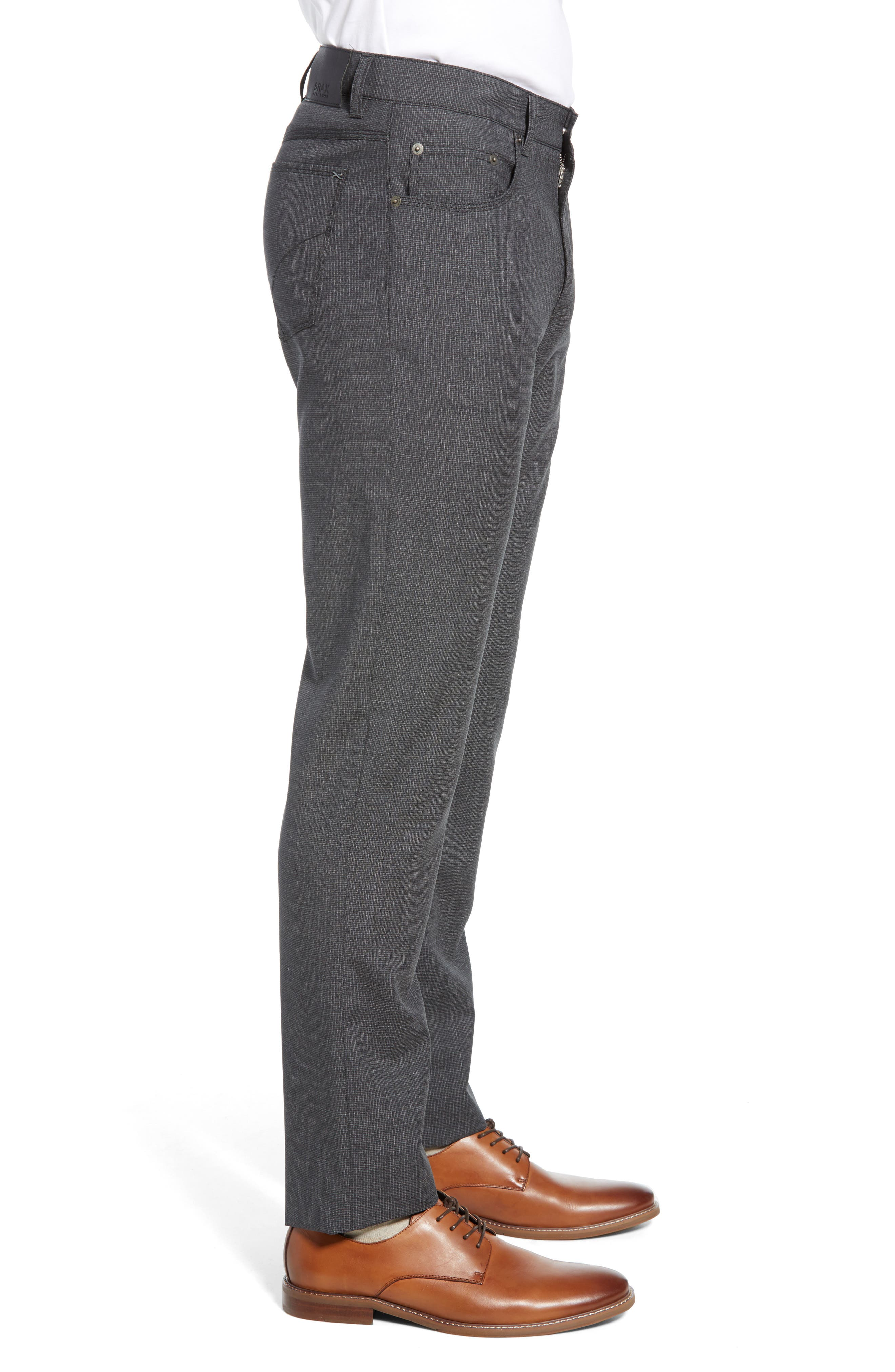 ,                             Cooper Five Pocket Check Wool Trousers,                             Alternate thumbnail 4, color,                             DARK GREY