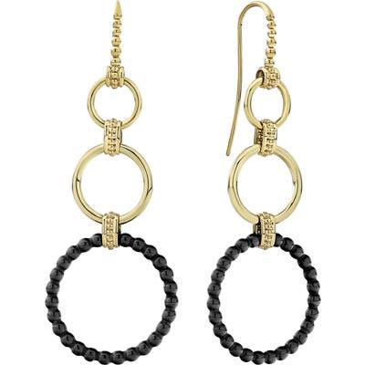 Lagos Gold & Black Caviar Graduated Circle Drop Earrings