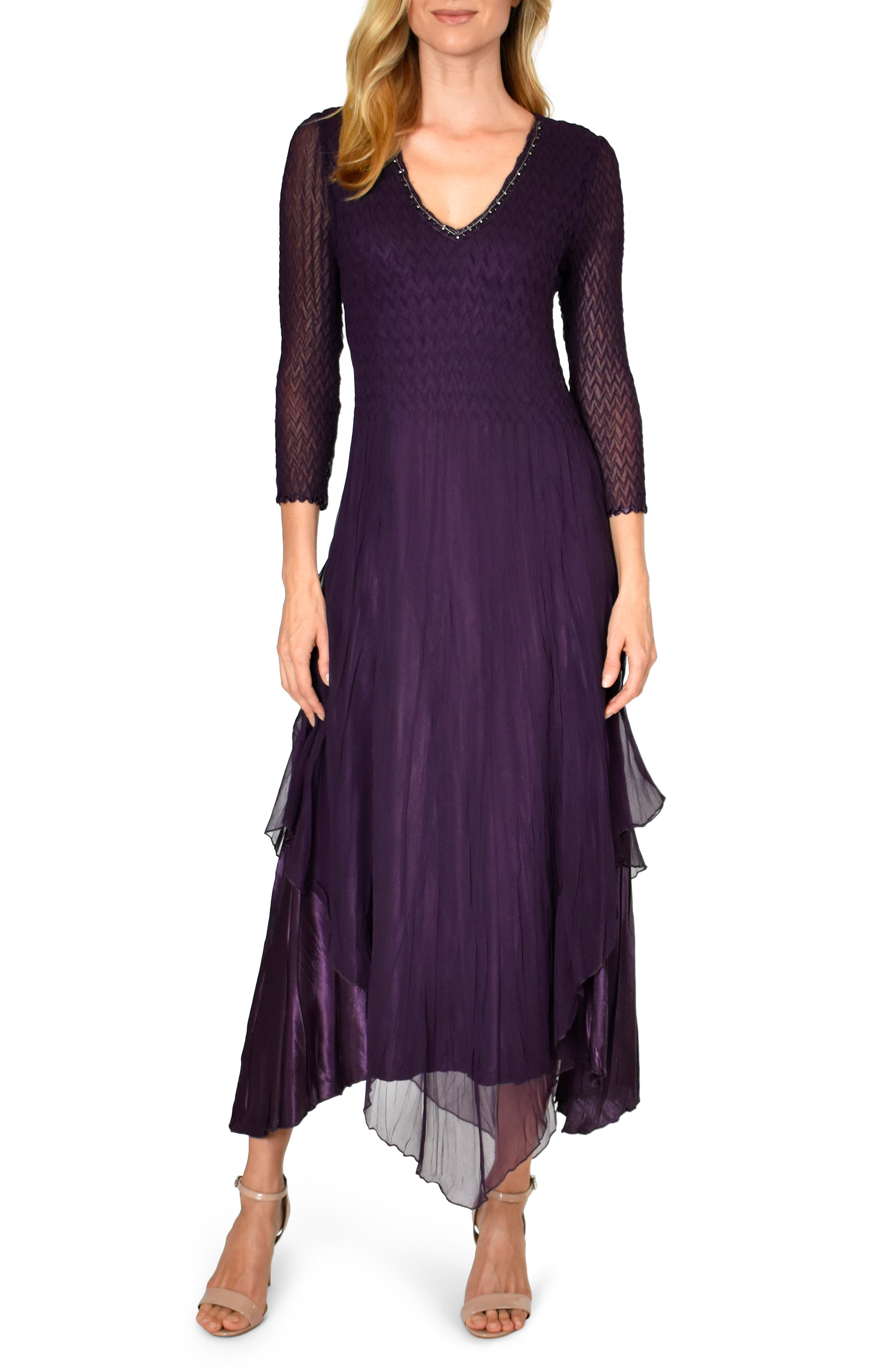 Roaring 20s Costumes- Flapper Costumes, Gangster Costumes Womens Komarov Flutter Hem Midi Dress $237.60 AT vintagedancer.com