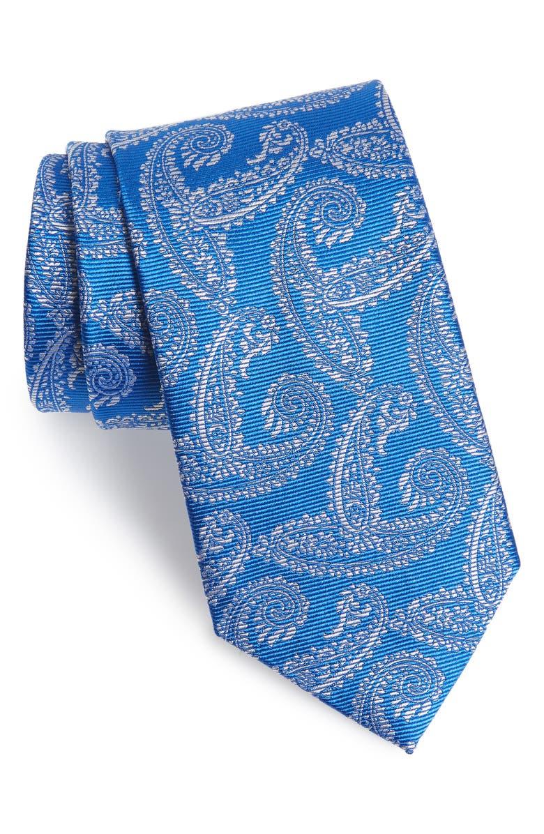 DAVID DONAHUE Paisley Silk Tie, Main, color, BLUE