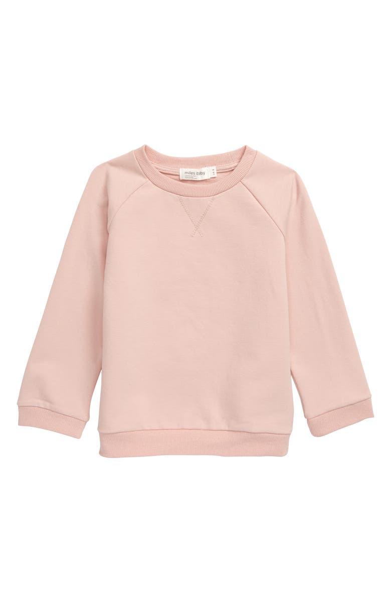MILES BABY Stretch Organic Cotton Sweatshirt, Main, color, LIGHT PINK