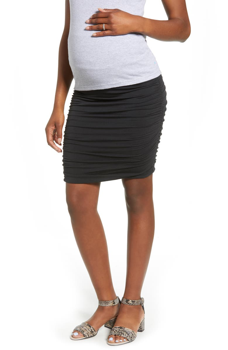 ANGEL MATERNITY Over the Belly Ruched Maternity Skirt, Main, color, BLACK