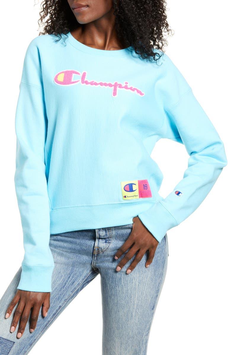 CHAMPION Reverse Weave<sup>®</sup> Chenille Logo Sweatshirt, Main, color, BLUE HORIZON