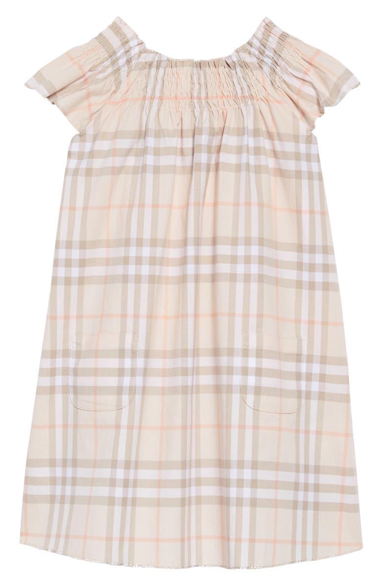 BURBERRY Vinya Ruffle Sleeve Shift Dress, Main, color, 650