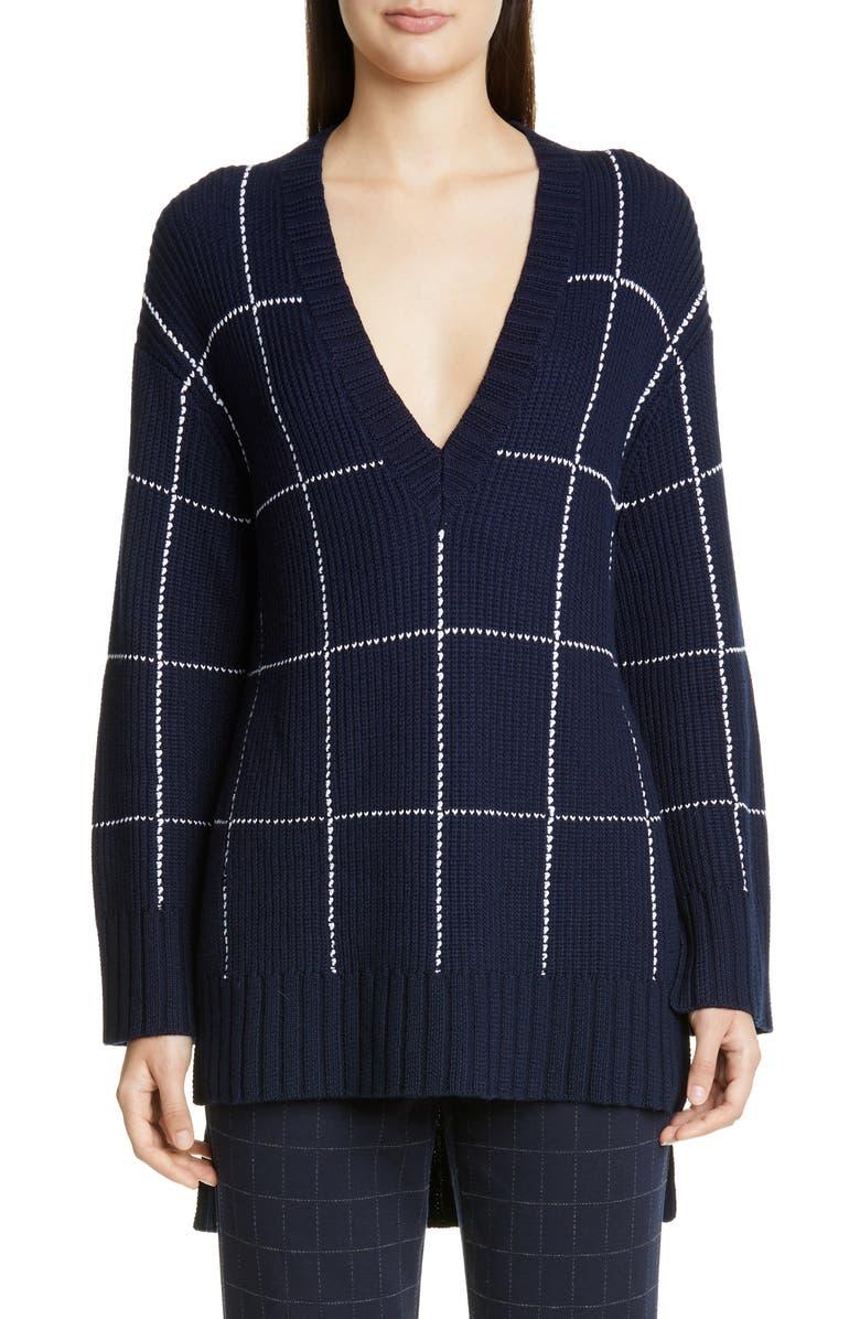 ST. JOHN COLLECTION Windowpane Tunic Sweater, Main, color, NAVY/ CREAM