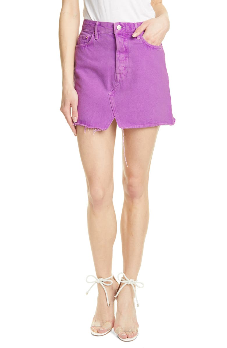 GRLFRND Milla Denim Miniskirt, Main, color, ELECTRIC PURPLE
