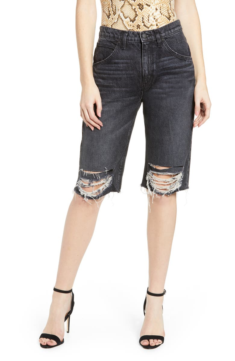 HUDSON JEANS Sloane Long Cutoff Shorts, Main, color, WORN SCHEME