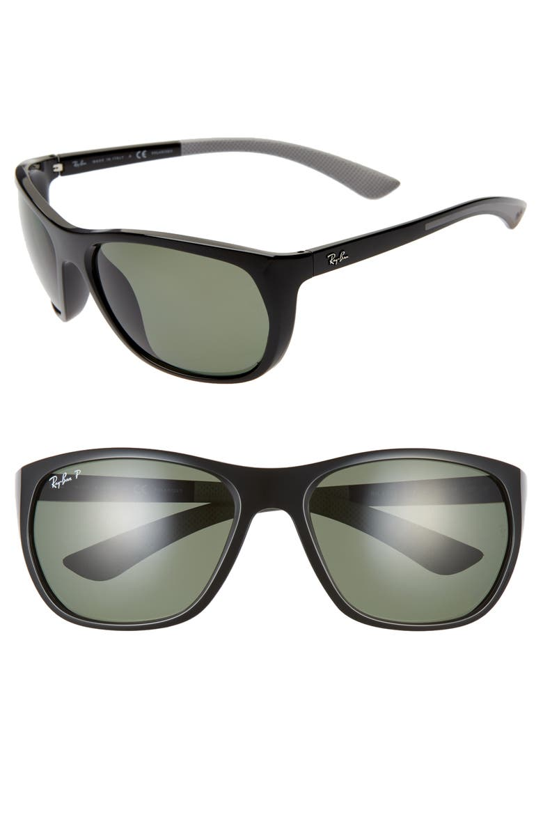 RAY-BAN 61mm Wrap Sunglasses, Main, color, BLACK