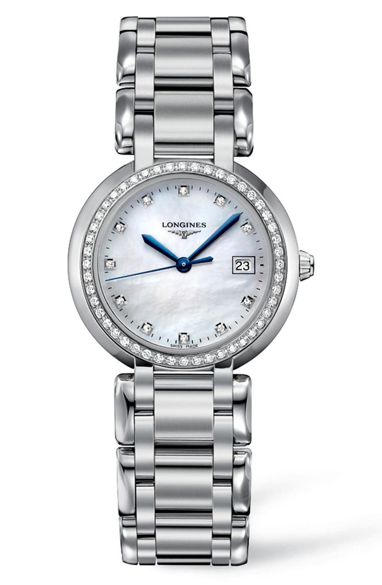 LONGINES PrimaLuna Diamond Bracelet Watch, 30mm, Main, color, SILVER/ MOP/ SILVER