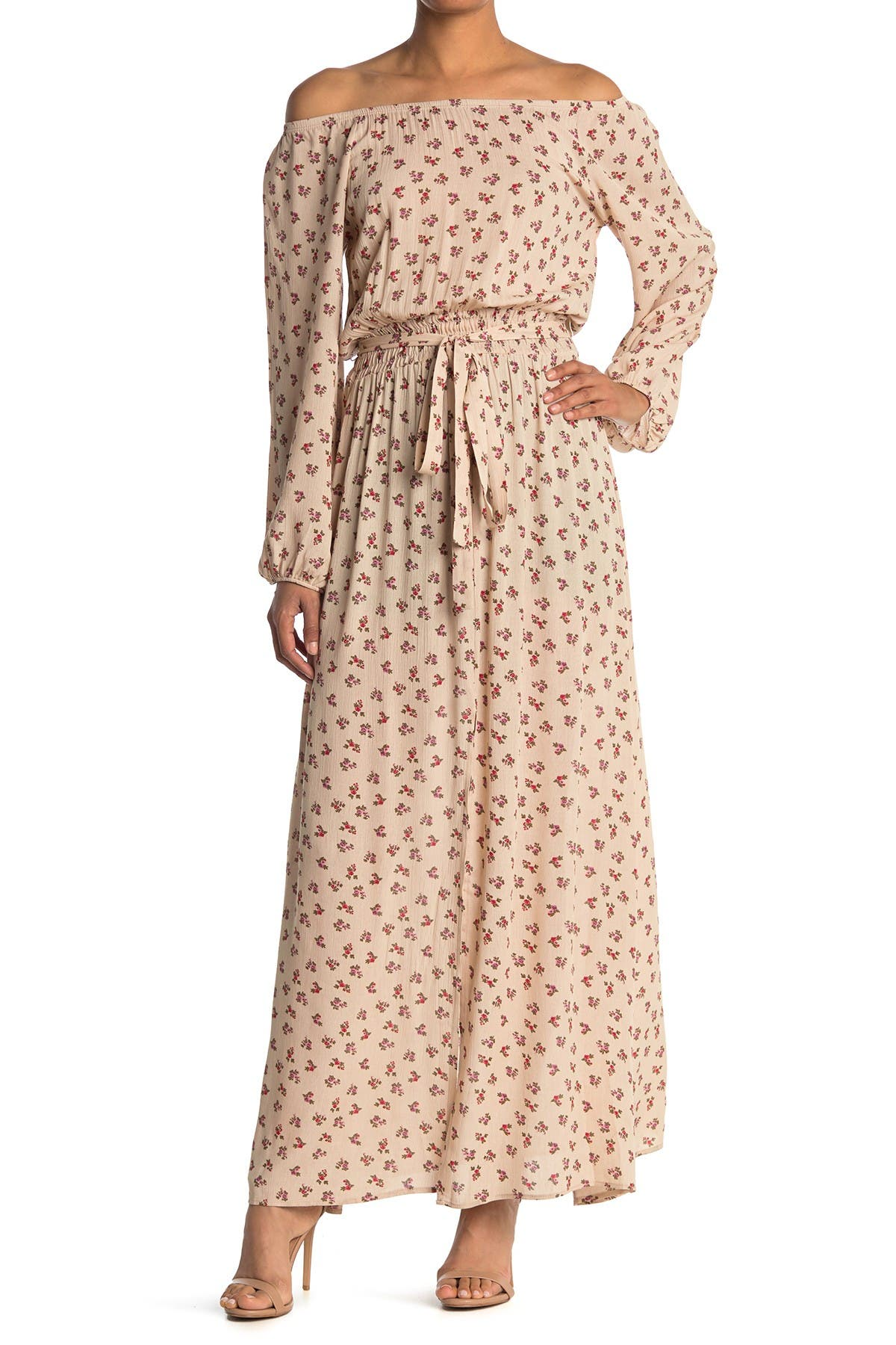 Image of Velvet Torch Smocked Waist Ditsy Print Maxi Dress