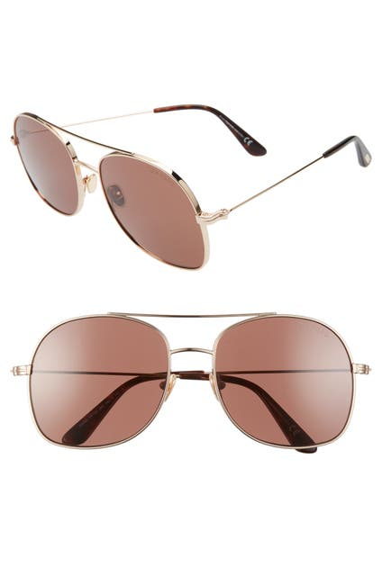 Image of Tom Ford Delilah 58mm Tinted Aviator Sunglasses