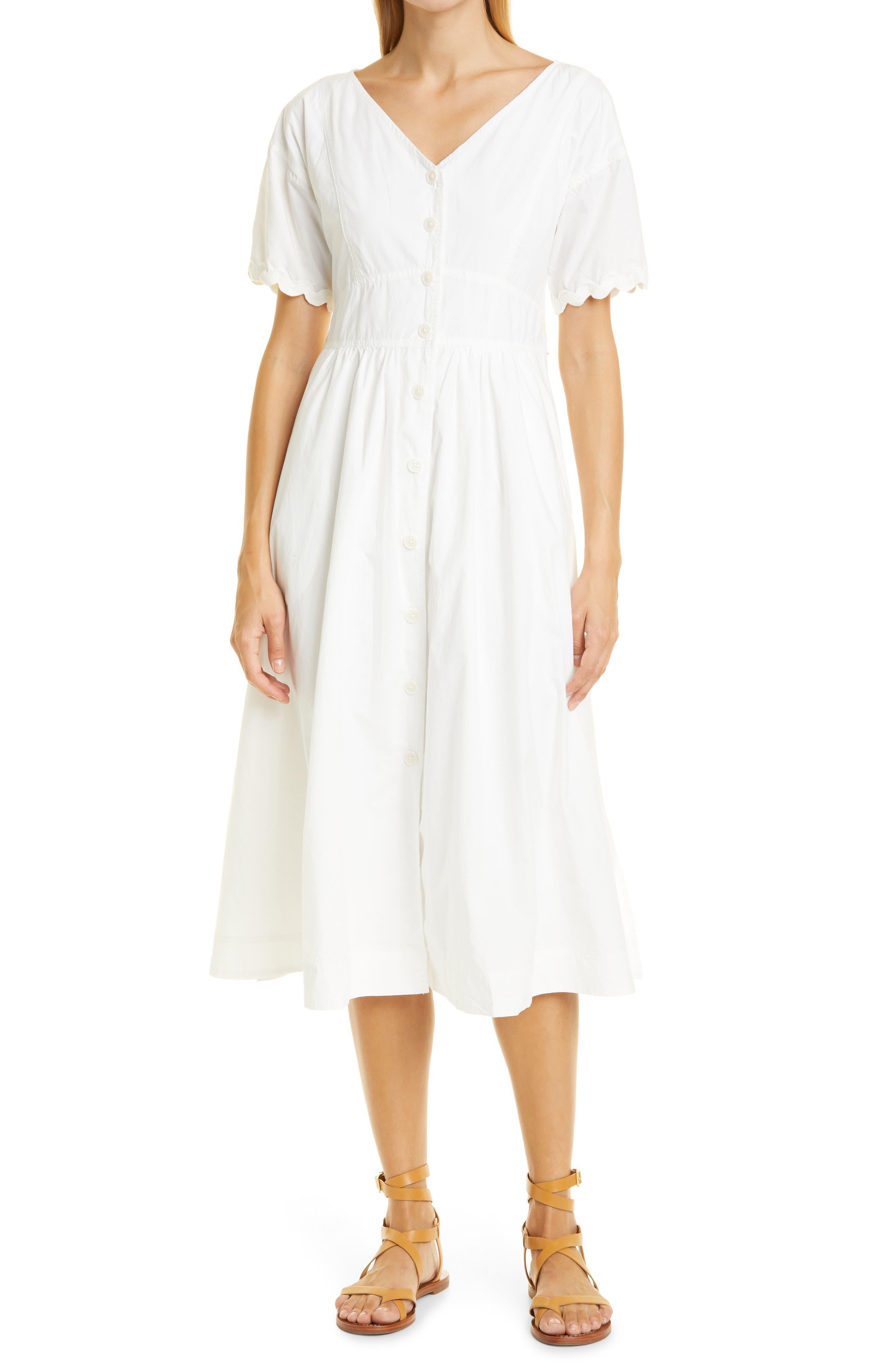 Rick Button Front Cotton Midi Dress