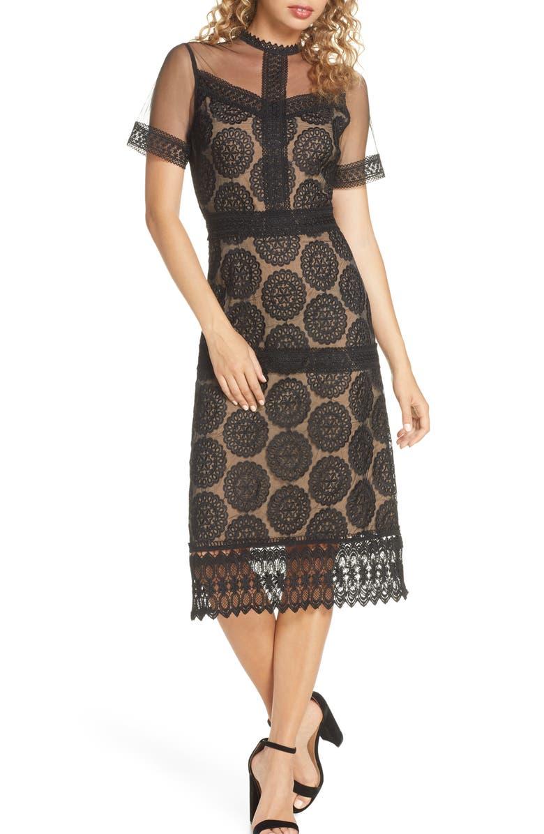CHELSEA28 Lace Midi Dress, Main, color, 001