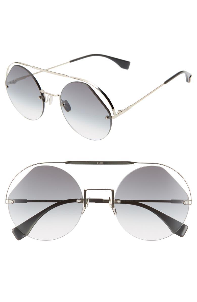 FENDI 56mm Semi Rimless Round Aviator Sunglasses, Main, color, GREY