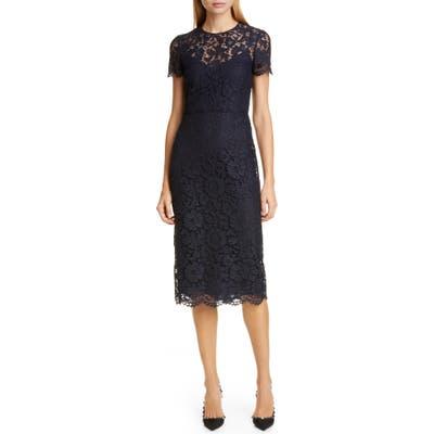 Valentino Lace Midi Sheath Dress, US / 40 IT - Blue