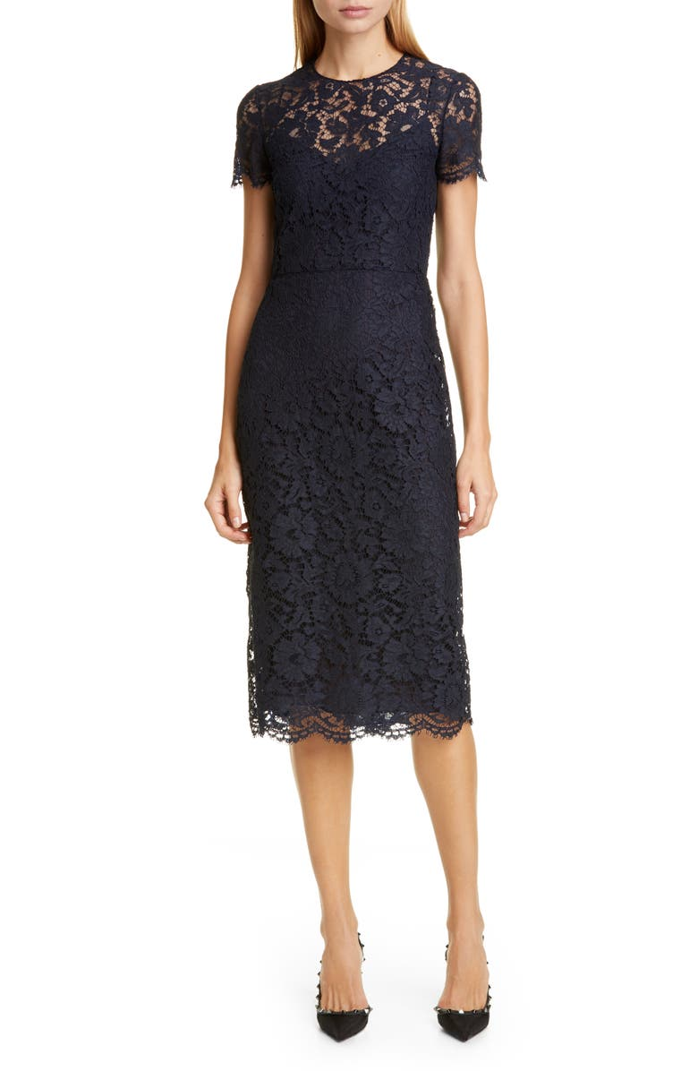 VALENTINO Lace Midi Sheath Dress, Main, color, 598-NAVY
