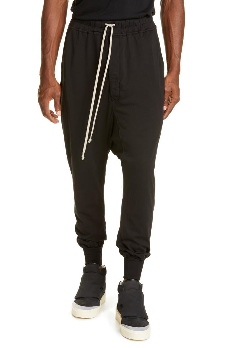 RICK OWENS DRKSHDW Prisoner Drawstring Track Pants, Main, color, BLACK