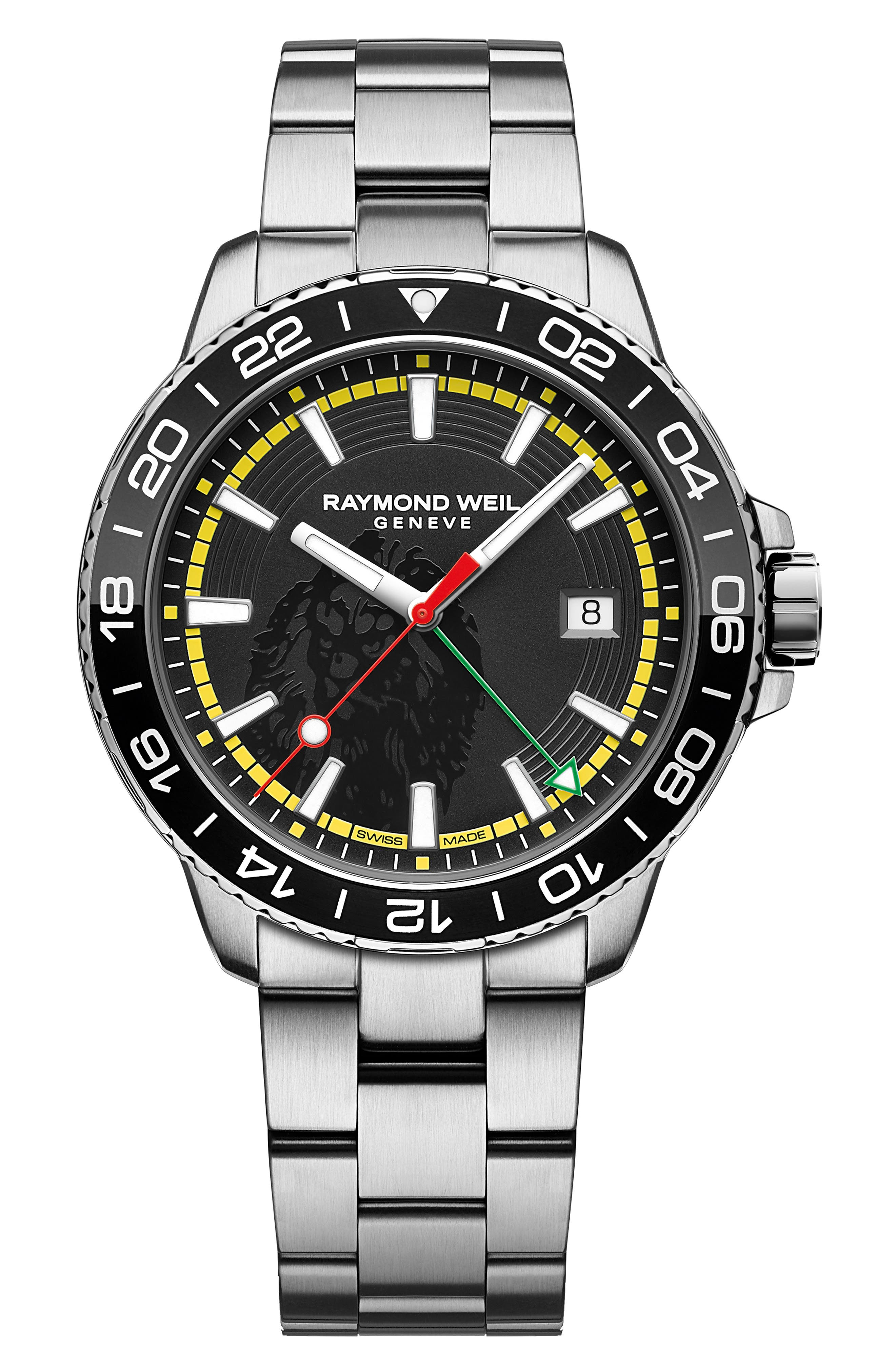 ,                             x House of Marley Tango 300 Marley Limited Edition Bracelet Watch, 42mm,                             Main thumbnail 1, color,                             SILVER/ BLACK/ YELLOW/ SILVER