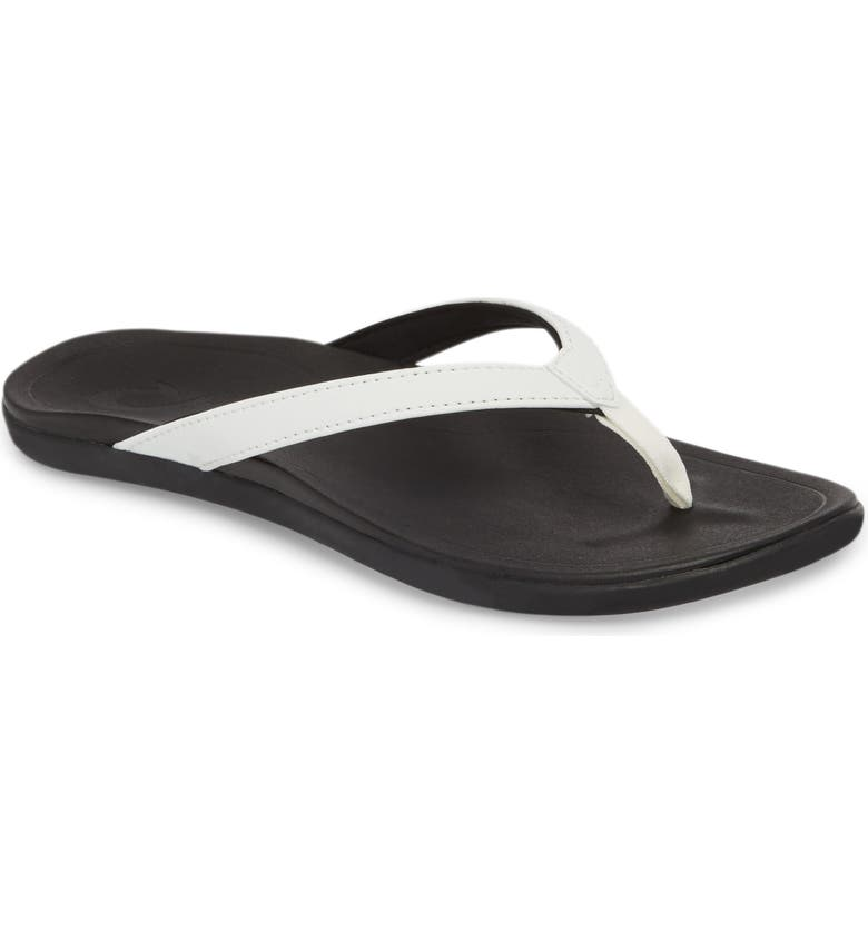 OLUKAI Ho Opio Flip Flop, Main, color, WHITE/ ONYX