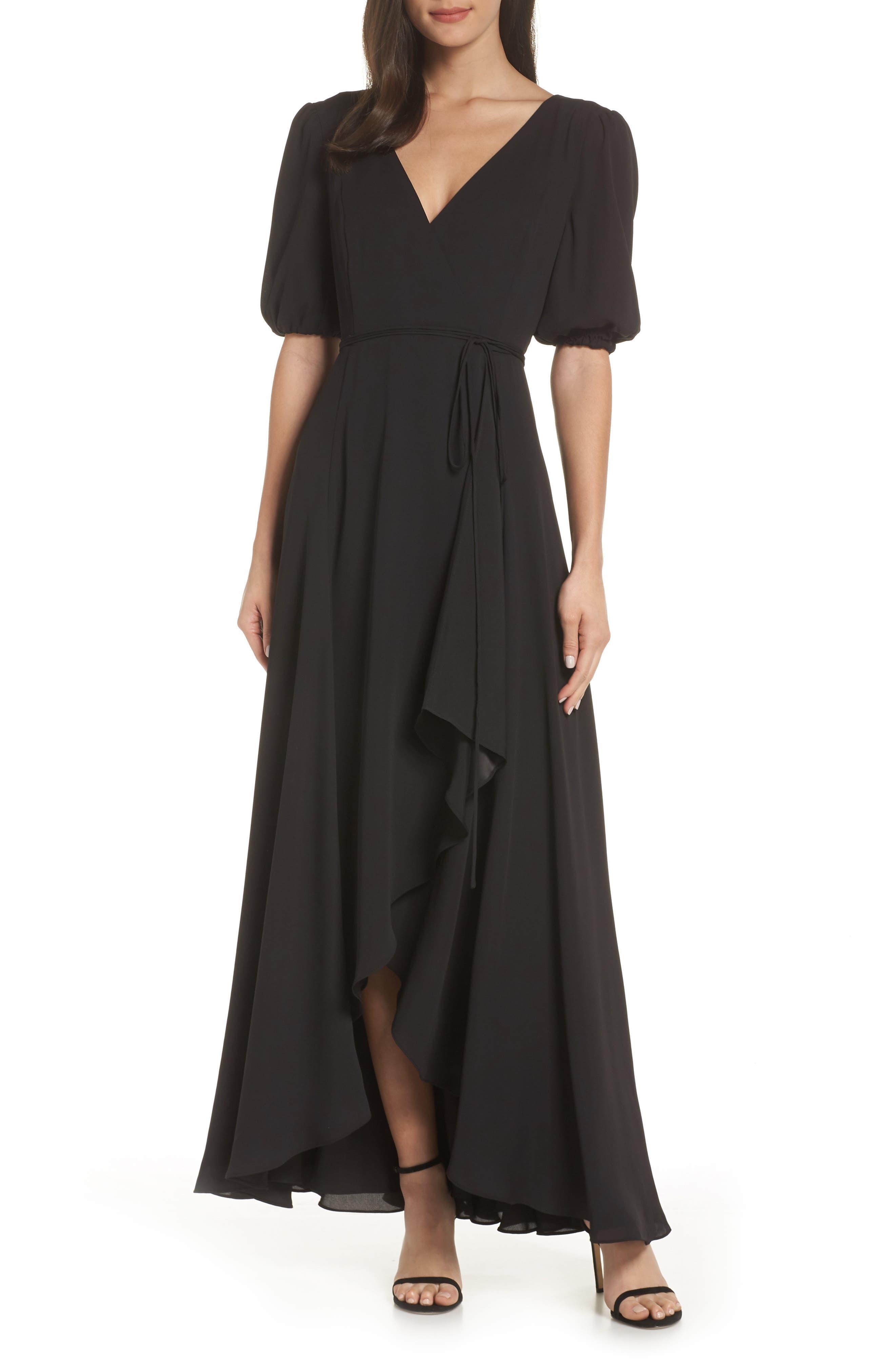 ,                             V-Neck Georgette Wrap Gown,                             Main thumbnail 1, color,                             BLACK