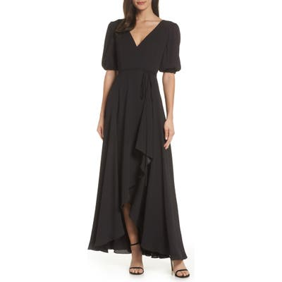 Fame And Partners V-Neck Georgette Wrap Gown, Black