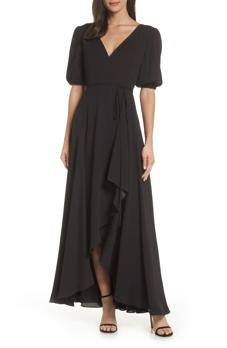 FAME AND PARTNERS V-Neck Georgette Wrap Gown, Main, color, BLACK