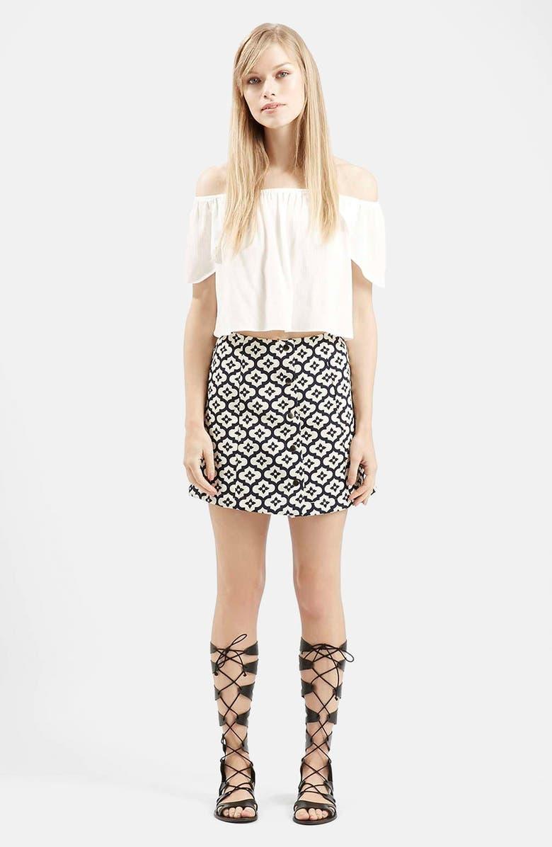 TOPSHOP Jacquard Print A-Line Skirt, Main, color, 410
