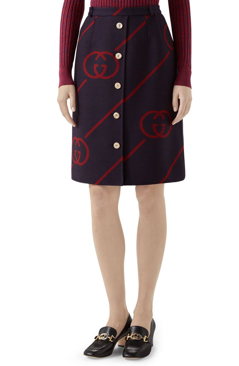 GUCCI Interlocking-G Print Reversible Wool & Silk Skirt, Main, color, BLUE/ RED