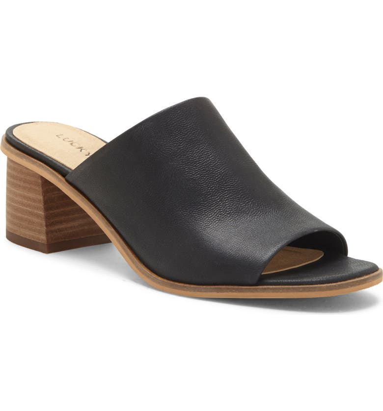 LUCKY BRAND Lutena Slide Sandal, Main, color, BLACK LEATHER