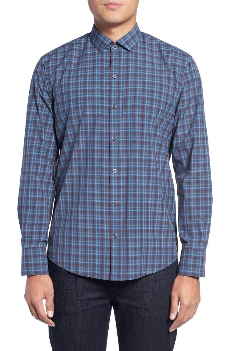 ZACHARY PRELL Slim Fit Plaid Sport Shirt, Main, color, 402
