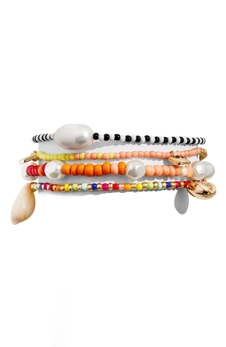 BAUBLEBAR Set of 4 Beaded Stretch Bracelets, Main, color, RAINBOW MULTI