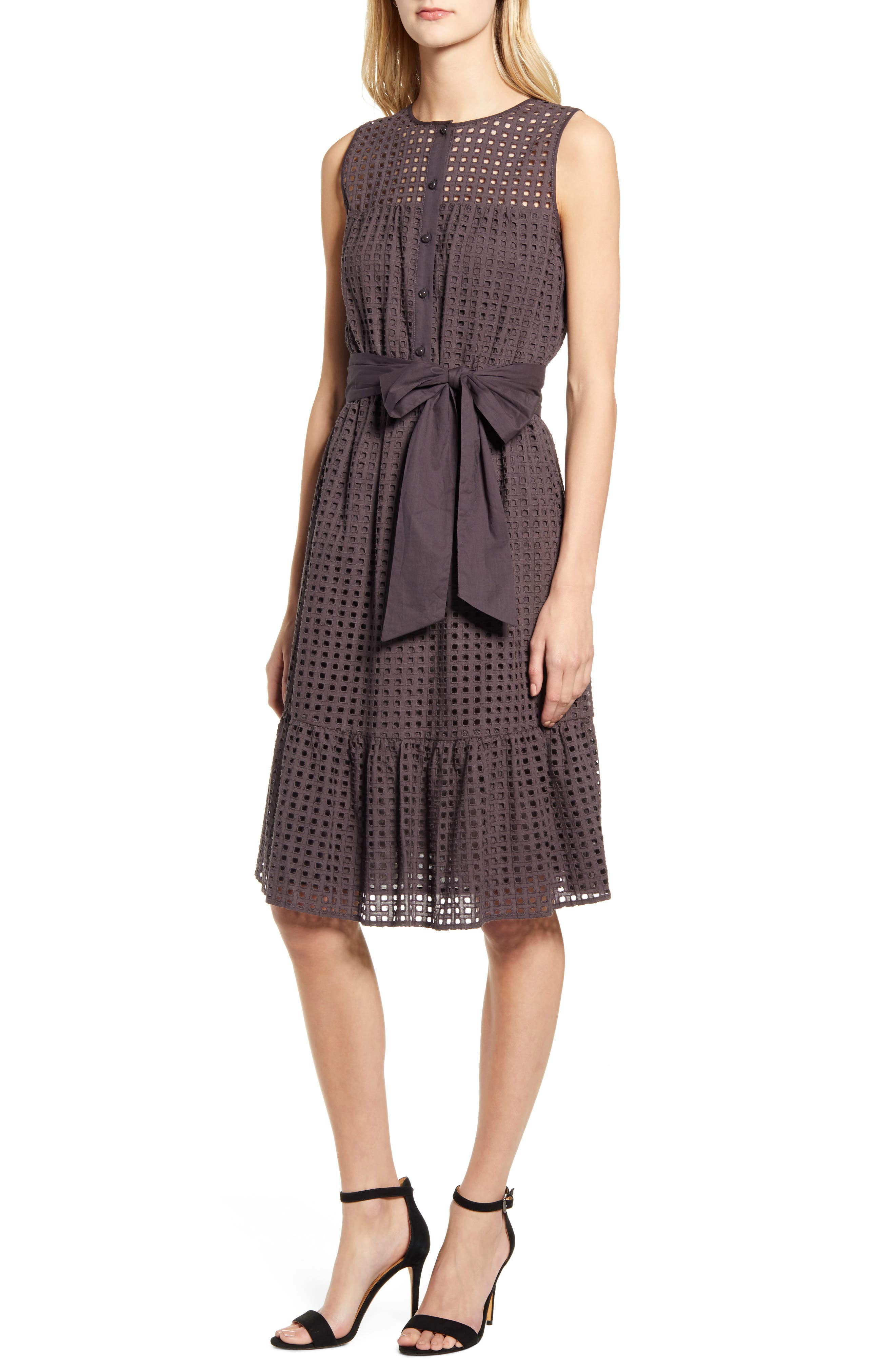 Anne Klein Eyelet Fit & Flare Dress, Grey