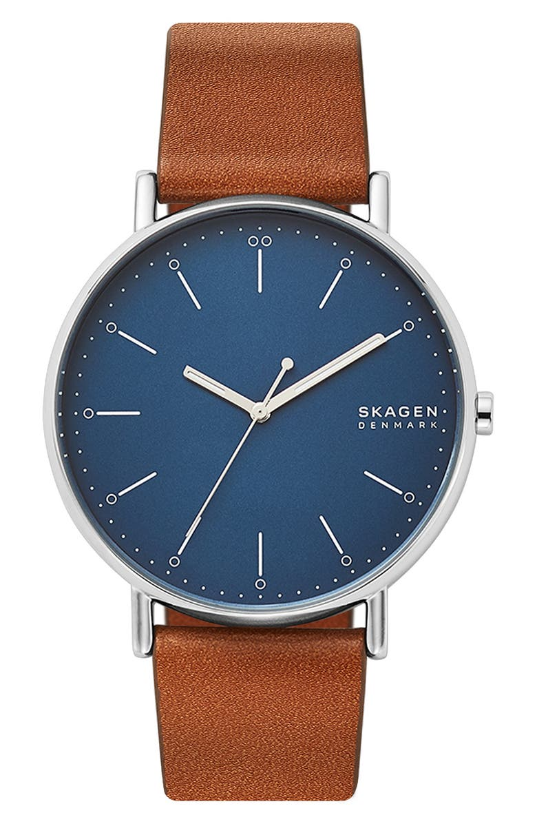 SKAGEN Signatur Leather Strap Watch, 45mm, Main, color, BROWN/ BLUE/ SILVER